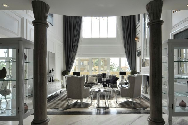 Luxuriously designed columned  room in grey tones