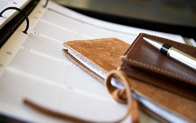 Luxury diary, address book, leather wallet