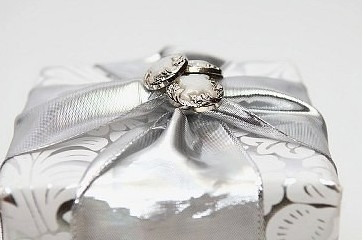 Gift box beautifully wrapped with silver bow