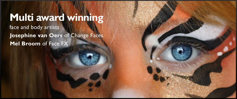 Mulit award winning face and body artists Josephine van Oers and Mel Broom. BANNER IMAGE