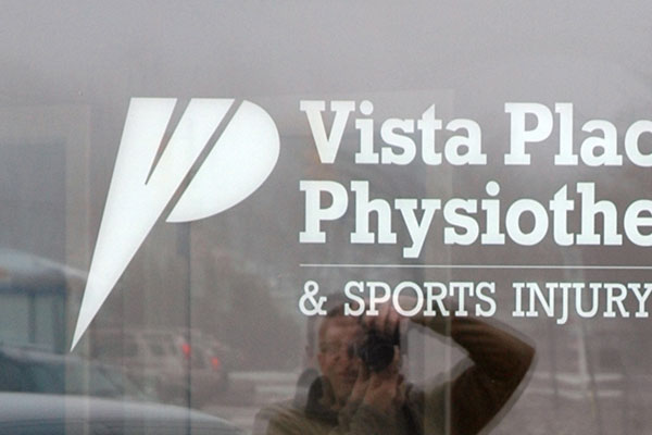 Vista Place Physio window graphics and lettering