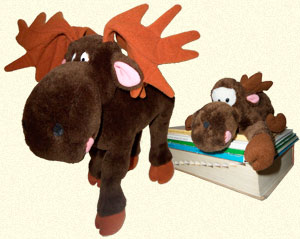 Two stuffed toys by Dakin of Too-Loose the Chocolate Moose