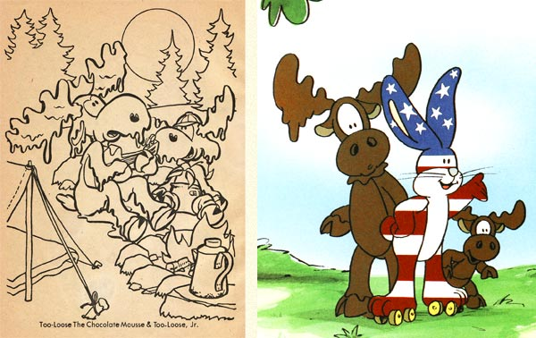 Two illustrations of Too-Loose the Chocolate Moose (these were not drawn by Stewart Moskowitz)