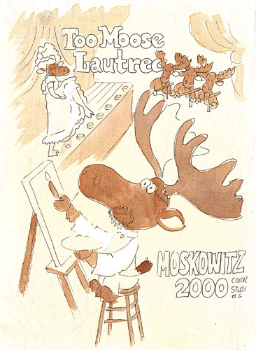 A variation on Too-Loose the Chocolate Moose, drawn by Stewart Moskowitz