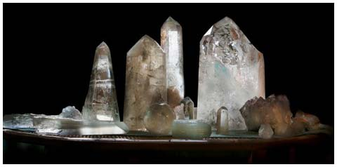 A row of crystals Linda uses for healing