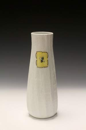 Porcelain vase with nichrome wire by Peggy Loudon