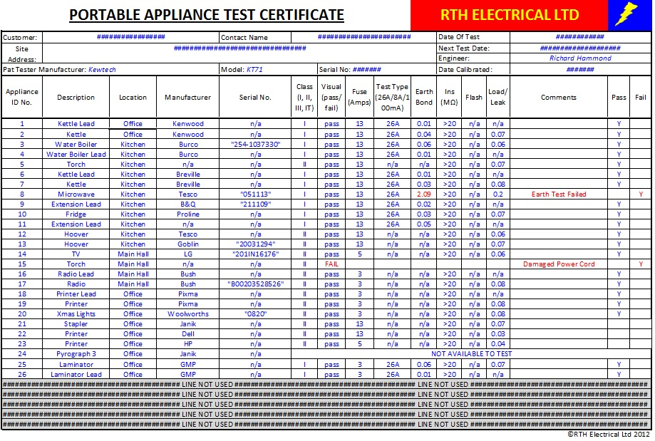 pat testing template free - pat test certificate template free download choice image